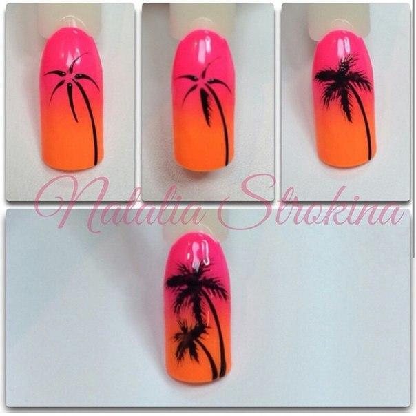 Пальма на ногтях пошагово
