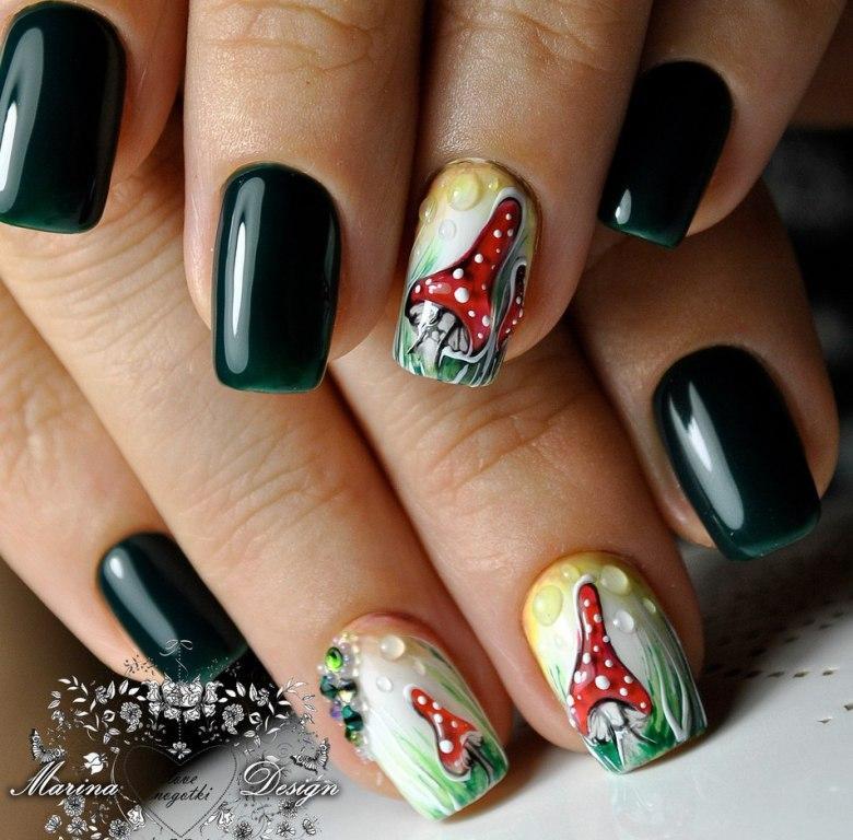 Ногти с капельками росы